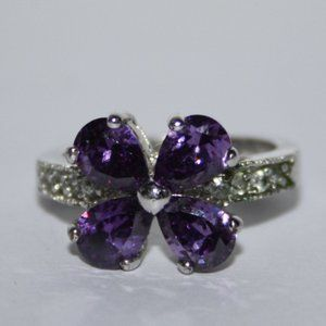Silver amethyst and cz flower ring size 7